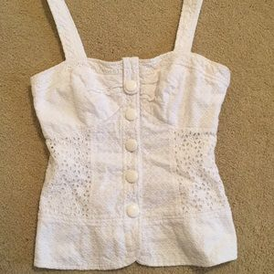 Kensie Summer White Eyelet Fitted Tank Size Small